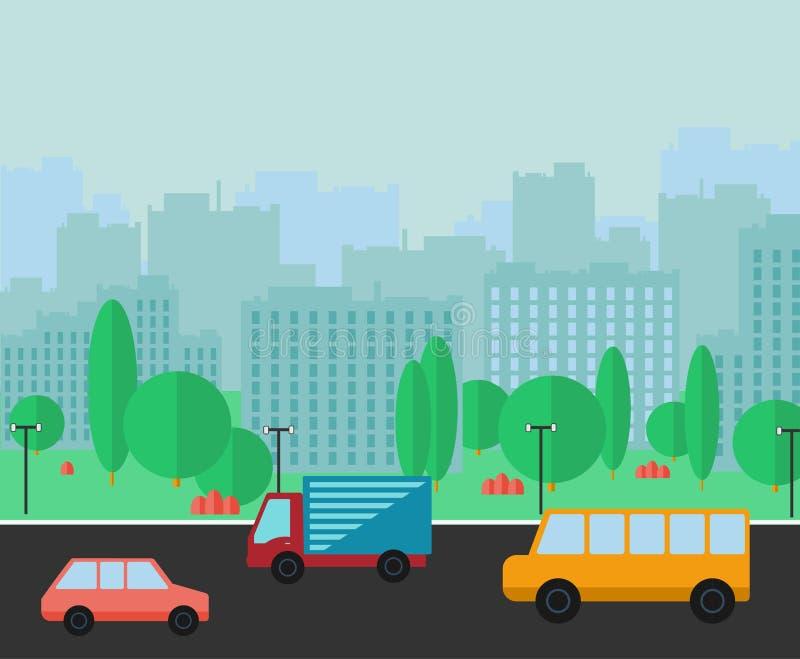 Stads- panorama för stad Plan vektorillustration vektor illustrationer