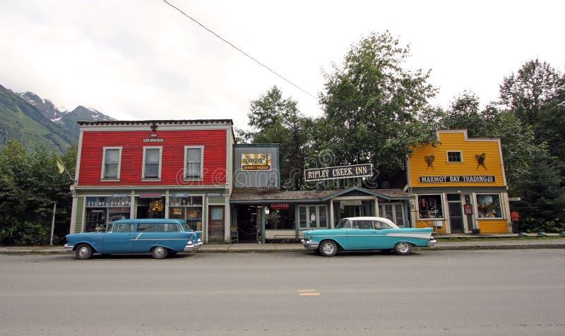 Stads- plats i Stewart, British Columbia, Kanada royaltyfri fotografi