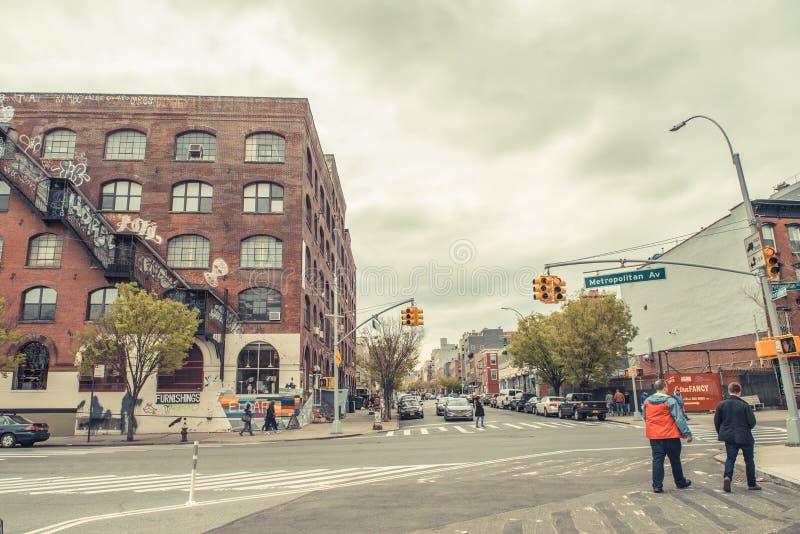 Stads- plats i Williamsburg, Brooklyn arkivfoton
