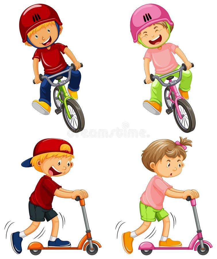 Stads- pojkar som rider cykeln och sparksparkcykeln stock illustrationer