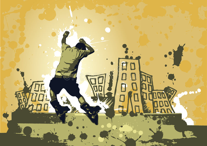 stads- rollerblade stock illustrationer