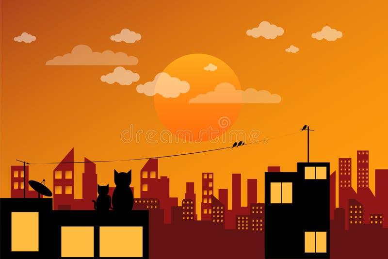 Stads scape Zonsondergang stock illustratie