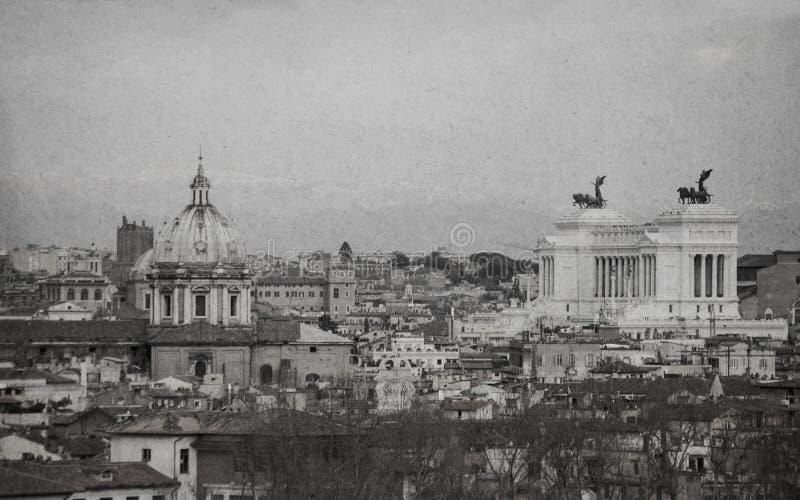 Stads- sceniskt av Rome Svartvit retro stil royaltyfri foto