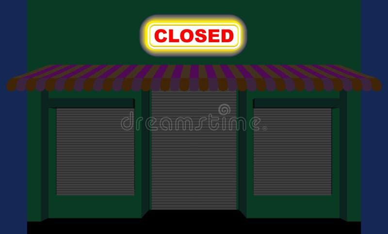 stads- shoppa Shoppa på natten Plattan är stängd Stängd showca royaltyfri illustrationer