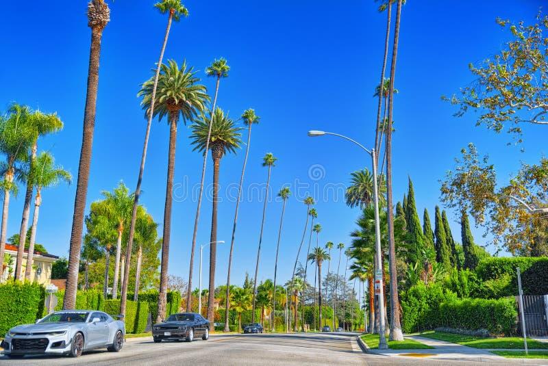 Stads- sikter av det Beverly Hills området och de bostads- byggnaderna på Hollywoodet Hills royaltyfri foto