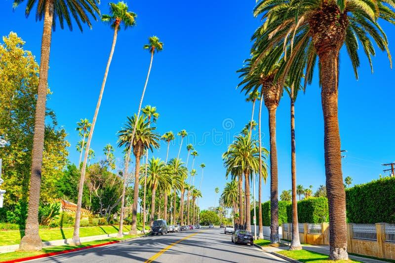 Stads- sikter av det Beverly Hills området och de bostads- byggnaderna på Hollywoodet Hills royaltyfria foton