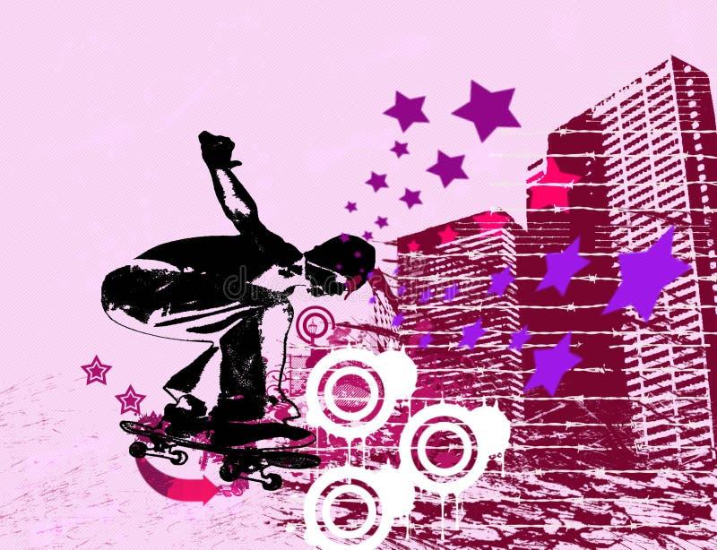 stads- skateboradåkare stock illustrationer