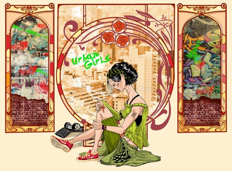 Stads- skateboradåkareflicka stock illustrationer