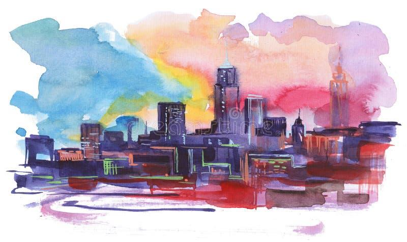 Stads- solnedgång royaltyfri illustrationer