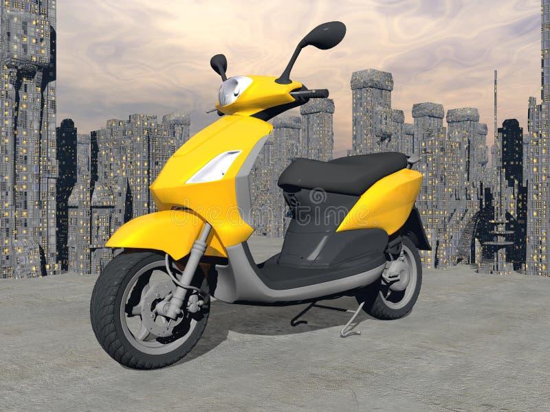 Stads- sparkcykel - 3D framför royaltyfri illustrationer