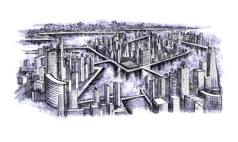 stads- stad royaltyfri illustrationer