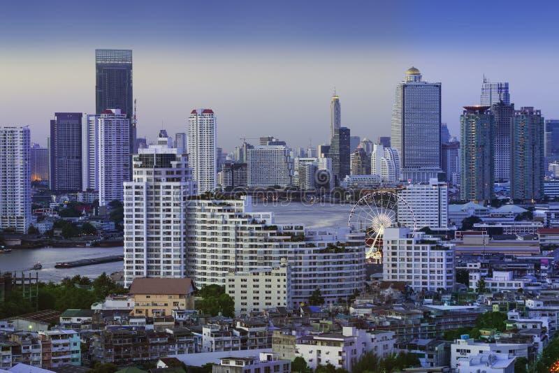 Stads- stadshorisont, Bangkok, Thailand. arkivbilder