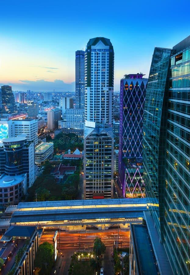Stads- stadshorisont, Bangkok, Thailand royaltyfri bild