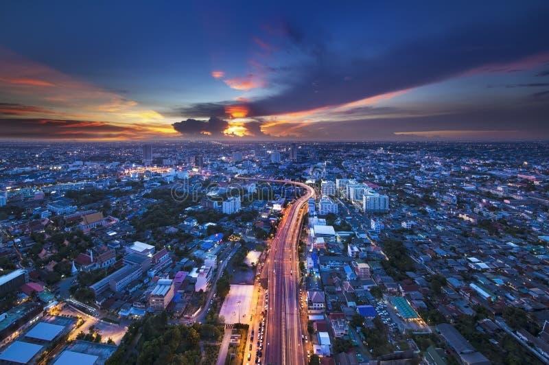 Stads- stadshorisont, Bangkok, Thailand arkivbild