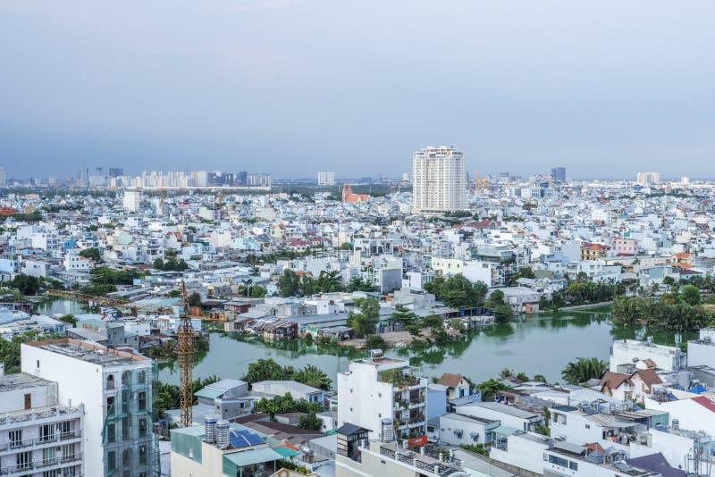 Stads- stadshorisont, Ho Chi Minh City, Vietnam royaltyfri foto
