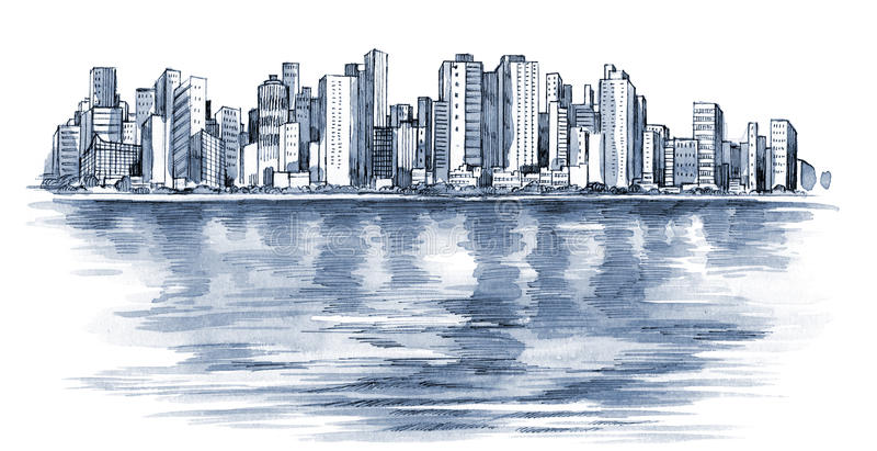 stads- stadsserie stock illustrationer