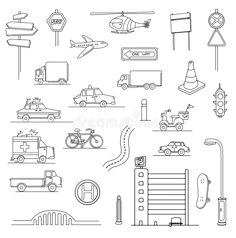 Stads- stadsuppsättning stock illustrationer