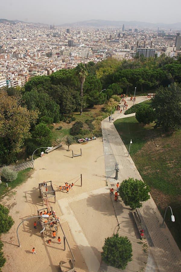 Stads stedelijke die straat hierboven wordt gezien van stock afbeeldingen