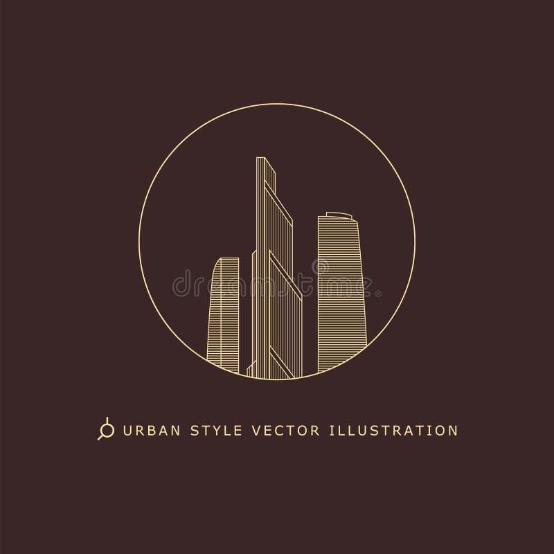 Stads- stilvektorlogo arkivbilder