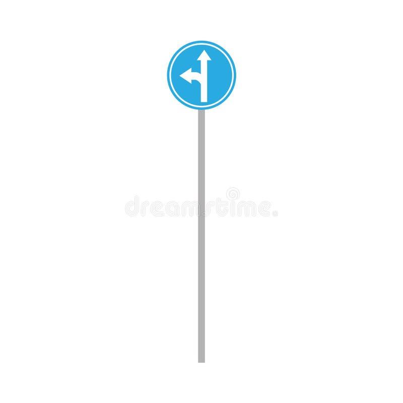 Stads- tecken för blått cirkelvägtrans. Plan vektorhuvudv?gskylt vektor illustrationer