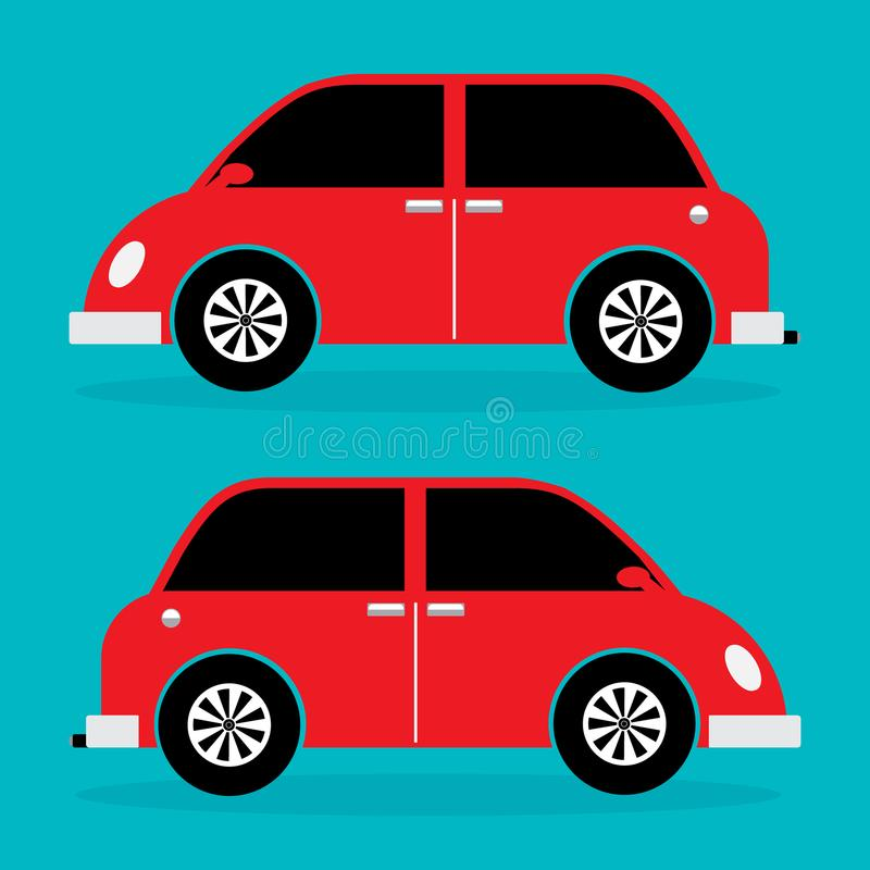 Stads uitstekende auto met klassiek ontwerp in rode kleur Vectorillust stock illustratie