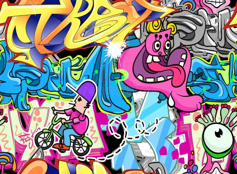 stads- vägg för bakgrundsgrafitti stock illustrationer