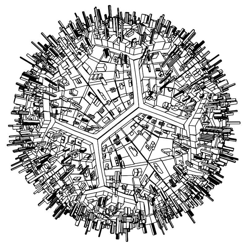 stads- vektor för abstrakt fotboll för stadsfotbolljordklot vektor illustrationer