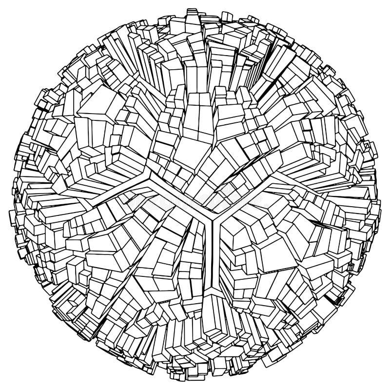 stads- vektor för abstrakt fotboll för stadsfotbolljordklot royaltyfri illustrationer