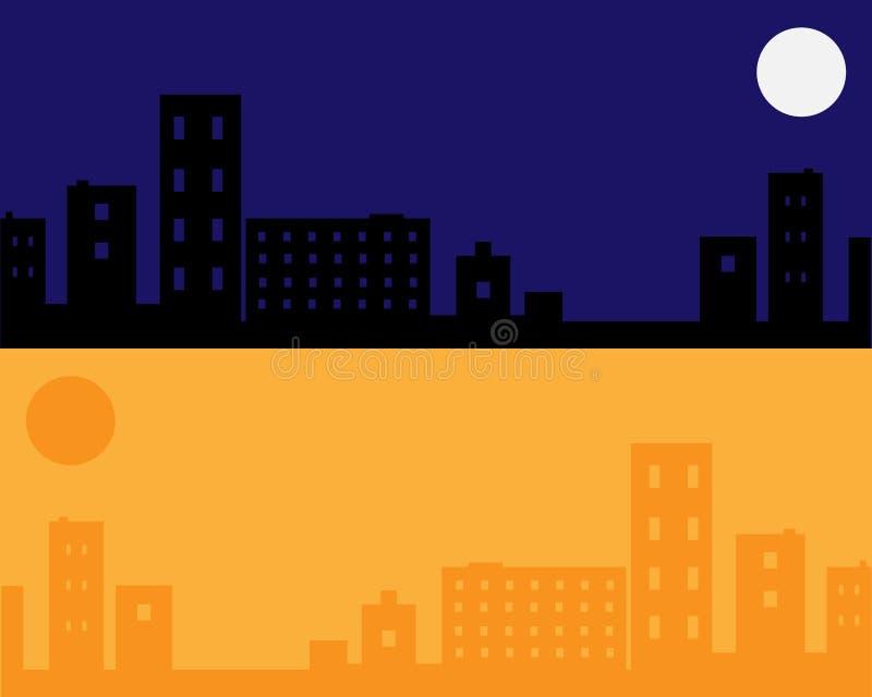 stads- vektor för bakgrundsdagnatt vektor illustrationer