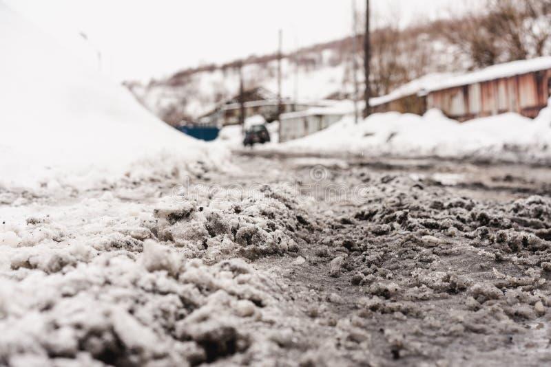 Stads- vinterlandskap på den Kamchatka halvön royaltyfri bild