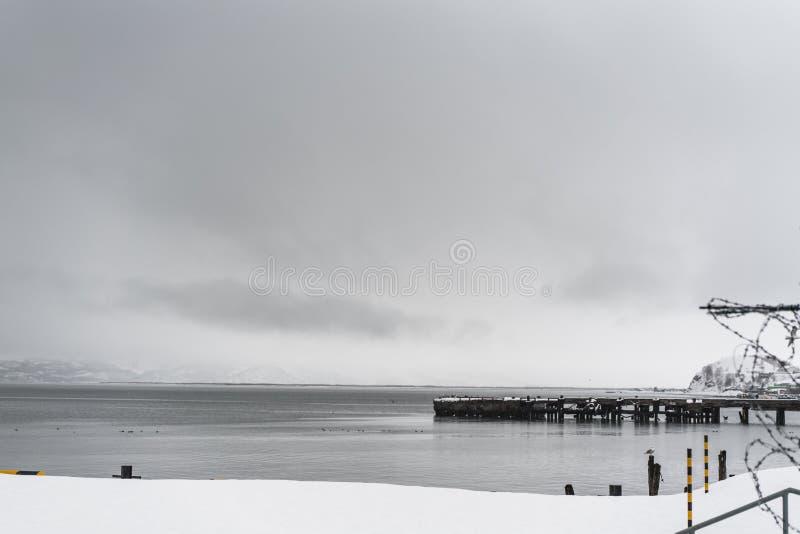 Stads- vinterlandskap på den Kamchatka halvön royaltyfria foton