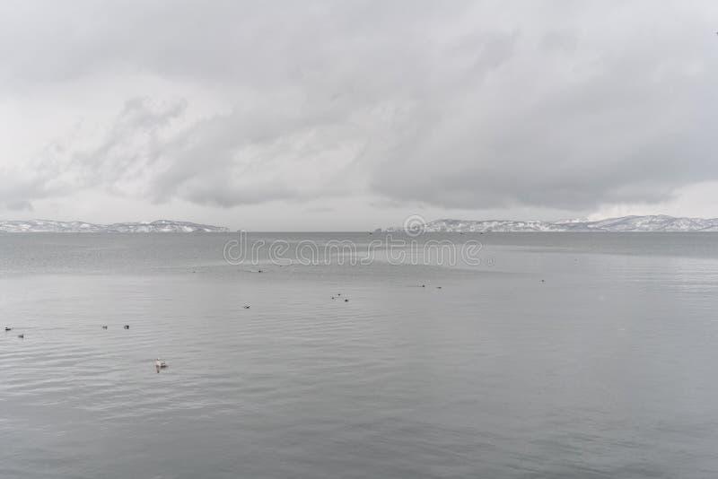 Stads- vinterlandskap på den Kamchatka halvön royaltyfria bilder