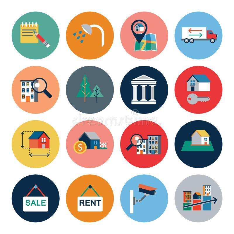Stads woningbouw, vector geplaatste pictogrammen Gemeentelijke die onroerende goederenvoorwerpen op witte achtergrond worden geïs vector illustratie
