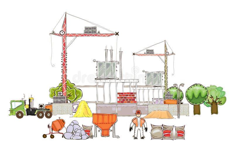 Stadsachtergrond met bouwterrein en kranen vector illustratie
