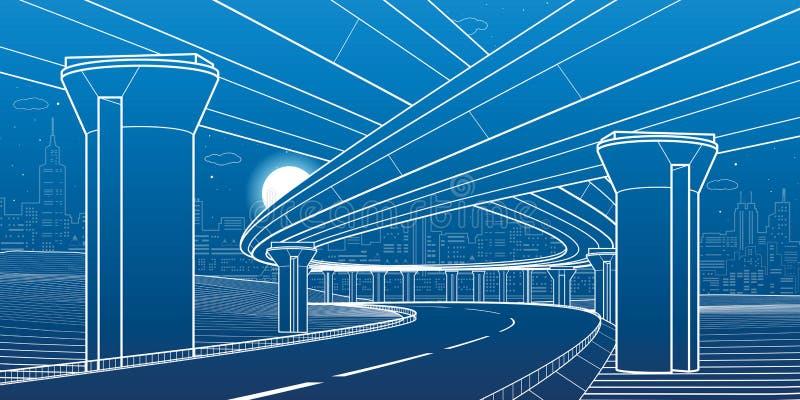 Stadsarkitektur och infrastrukturillustration, automatisk planskild korsning, stora broar, stads- plats riga för stadslatvia natt royaltyfri illustrationer