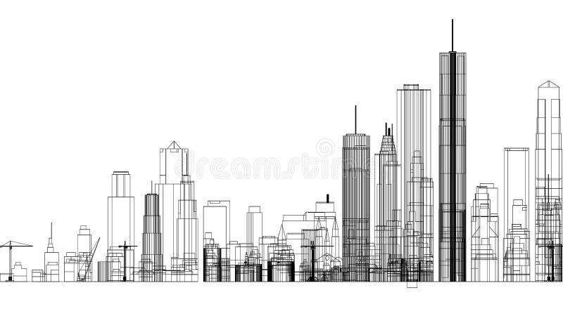 Stadsbegreppsarkitekt isolerade Blueprint - vektor illustrationer