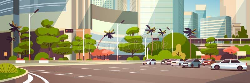 Stadsbil som parkerar över lägenhet för baner för modern bakgrund för cityscape för skyskrapabyggnader horisontal royaltyfri illustrationer