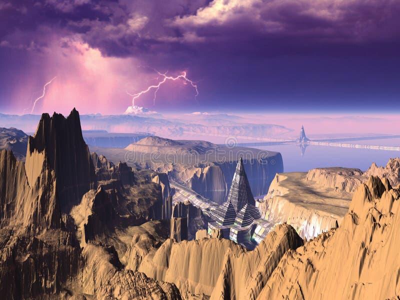 stadsblixt över pyramidstorm vektor illustrationer