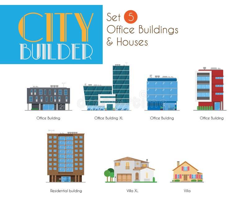 Stadsbouwer Set 5: Bureaugebouwen en Huizen stock illustratie