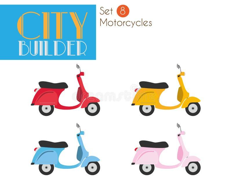 Stadsbouwer Set 8: Reeks van de motorfietsen de Vectorillustratie royalty-vrije illustratie