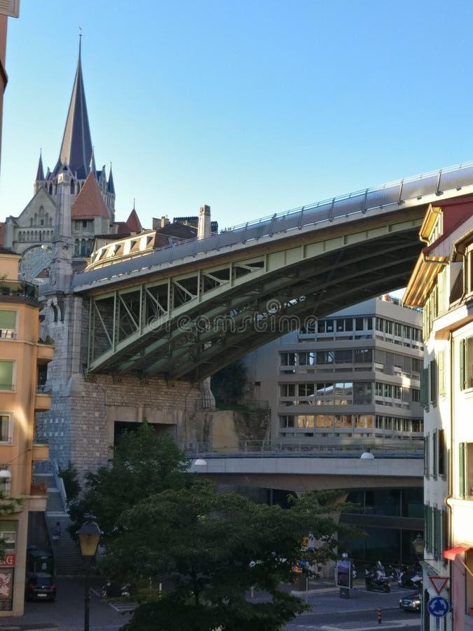 Stadsbro Lausanne arkivfoto