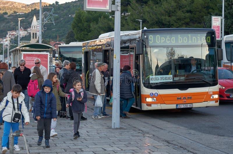 Stadsbus in Dubrovnik royalty-vrije stock foto