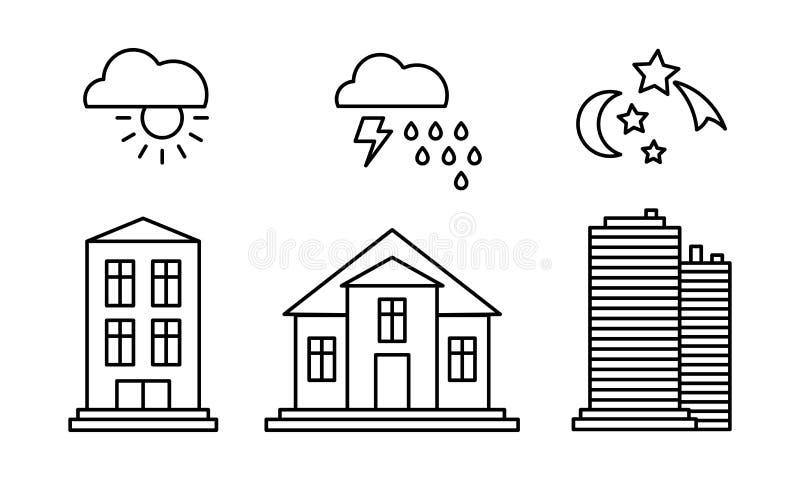 Stadsbyggnader och med vädersymboler, soligt regnigt väder, dag, linjär vektorillustration för natt på en vit bakgrund vektor illustrationer