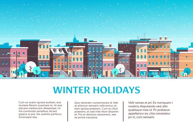 Stadsbyggnadshus övervintrar mallen för utrymme för kopian för kortet för hälsningen för ferie för det lyckliga nya året för glad royaltyfri illustrationer