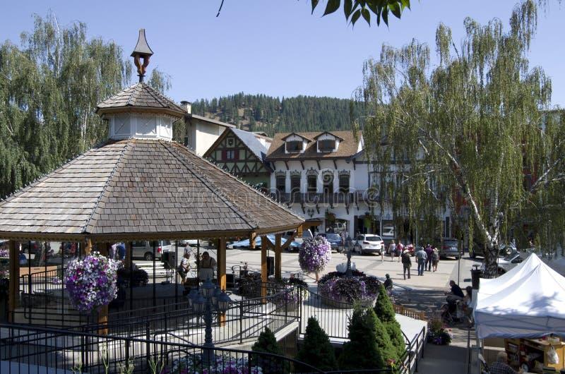 Stadscentrum Leavenworth stock foto's