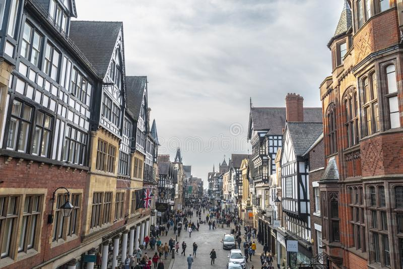 Stadscentrum van Chester Town stock afbeelding