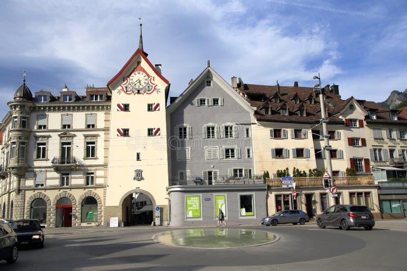 Stadscentrum van Chur stock afbeelding