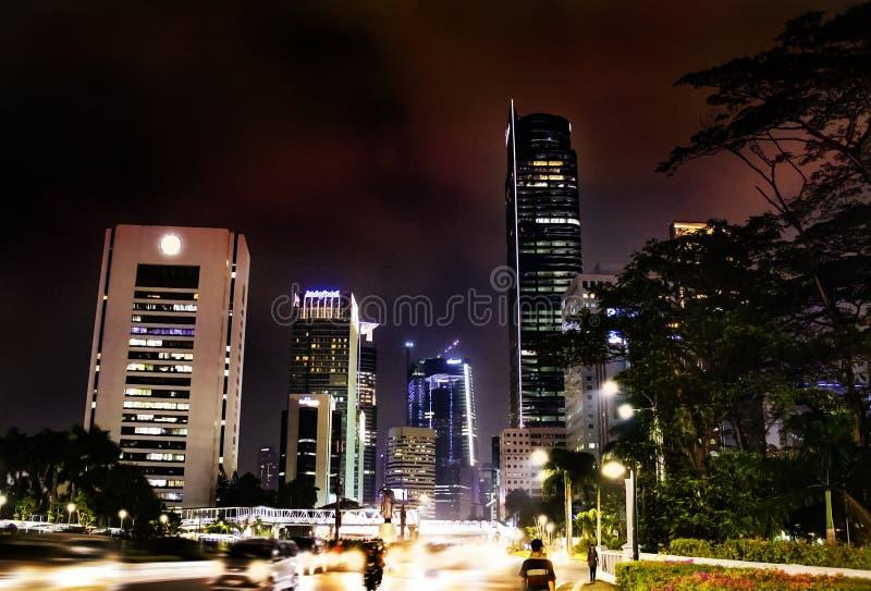 Stadscentrum van Djakarta bij Nacht royalty-vrije stock afbeeldingen
