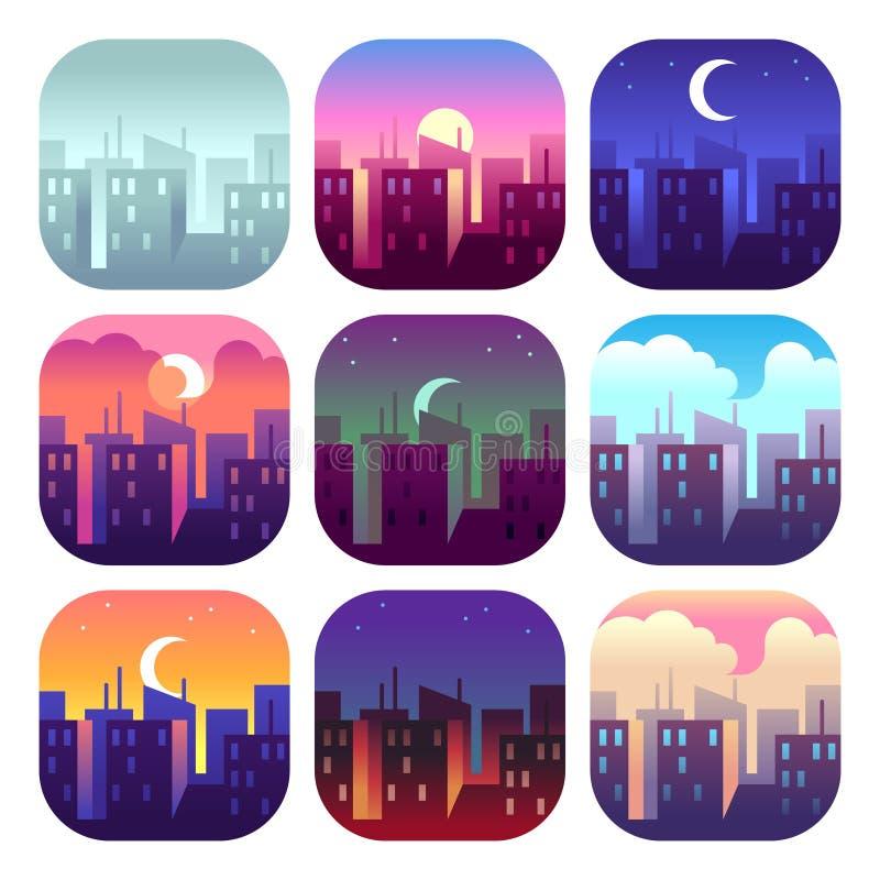 Stadsdagtider Ottasoluppgångsolnedgång, middag och skymningafton, byggnader för nattcityscapeskyskrapor Stads- uppsättning vektor illustrationer