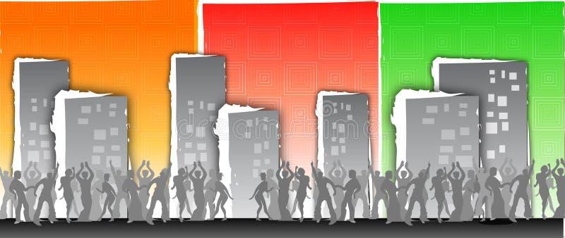 stadsdeltagare stock illustrationer